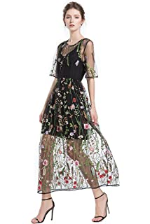 13c6da85e8c BaronHong Women s Floral Embroidered Tulle Prom Maxi Dress with Cami Dress  3 4 Sleeves