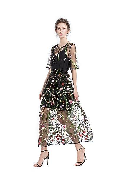 12201482e62f Abito maxi da promenade in tulle ricamato floreale femminile BaronHong con  camicie 3 4 (