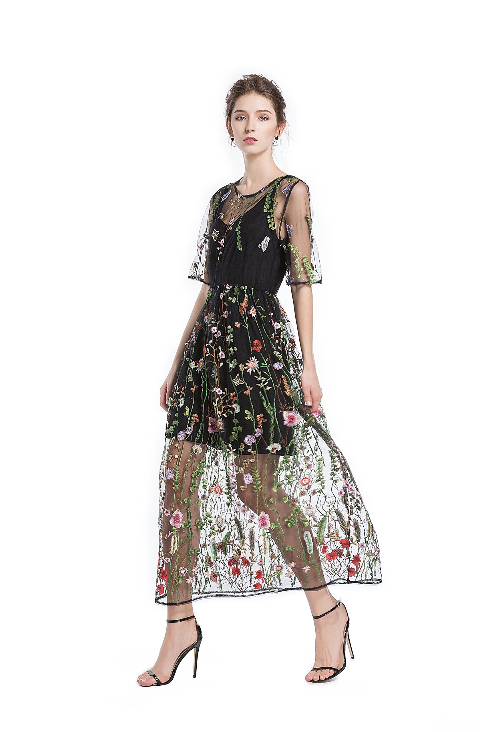 BaronHong Women's Floral Embroidered Tulle Prom Maxi Dress with Cami Dress 3/4 Sleeves
