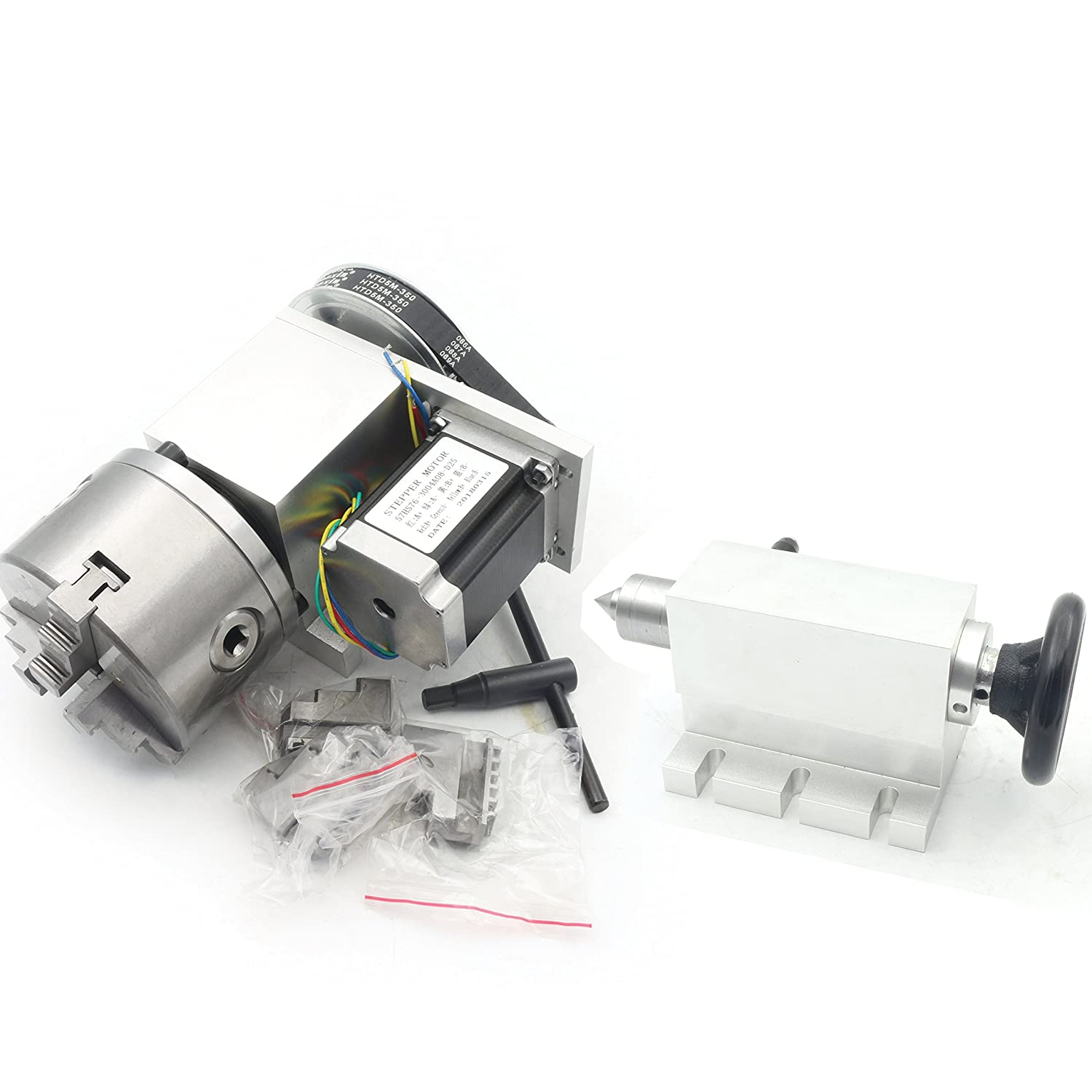 Changzhou Rattm Motor Co Reducing ratio:6:1 K11-100mm CNC Router Engraving Machine Rotational A 4th Axis 100mm 3 Jaw Chuck+65mm Tailstock Ltd