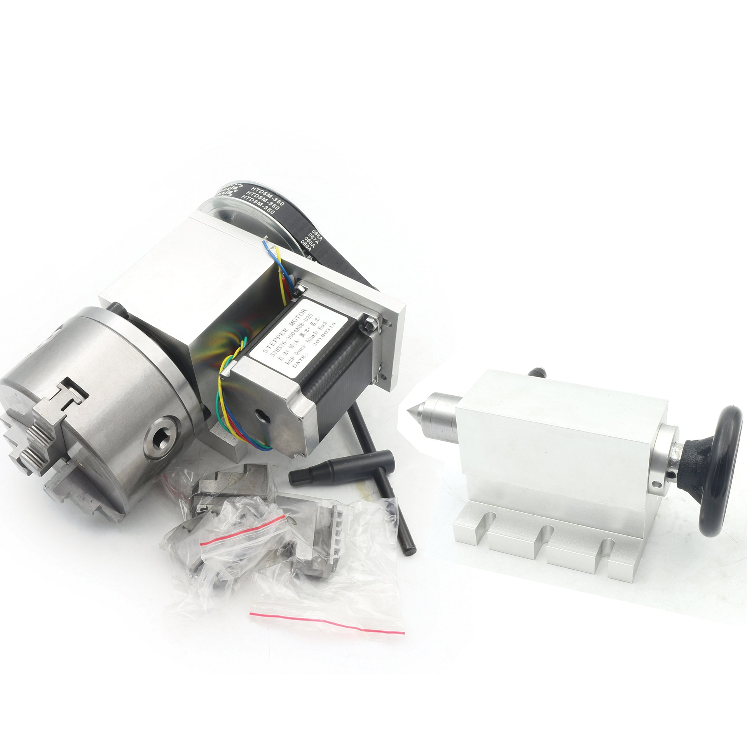 K11-100mm CNC Router Engraving Machine Rotational A 4th Axis 100mm 3 Jaw Chuck+65mm Tailstock (Reducing ratio:6:1)