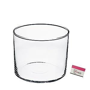 Photophore / Vase en verre cylindrique SANSA, transparent, 20 cm, Ø 25 cm - Vase cylindre / Porte bougie transparent - INNA Glas