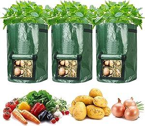 10 Gallon Garden Potato Grow Bags, Hmxpls Potato Bags for Growing Potatoes, Garden Containers Vegetable Planter with Flap and Handles Heavy Duty Aeration Fabric Pots, Premium PE Plastic 【3 Pack】