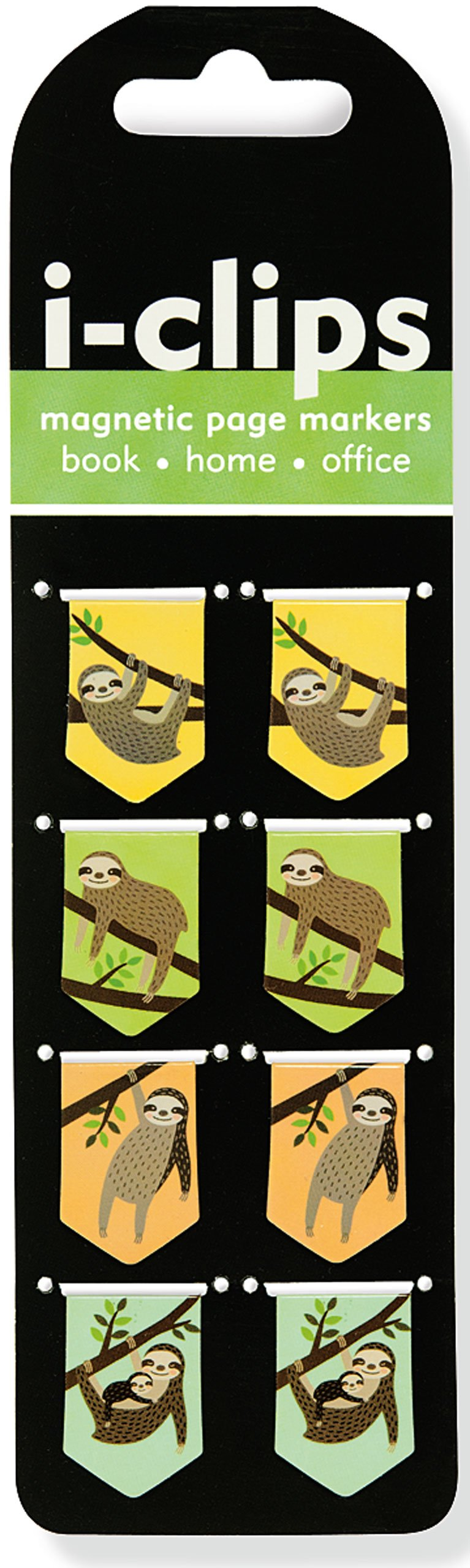 Sloths I-Clips Magnetic Page Markers (Set Of 8 Magnetic Bookmarks) - Book
