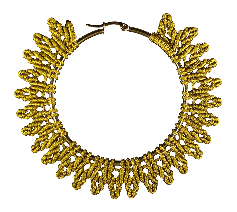 Girasol gold color handmade woven hoop earrings