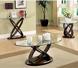 Furniture of America Darbunic Wood 3-Piece Coffee Table Set in Dark Walnut