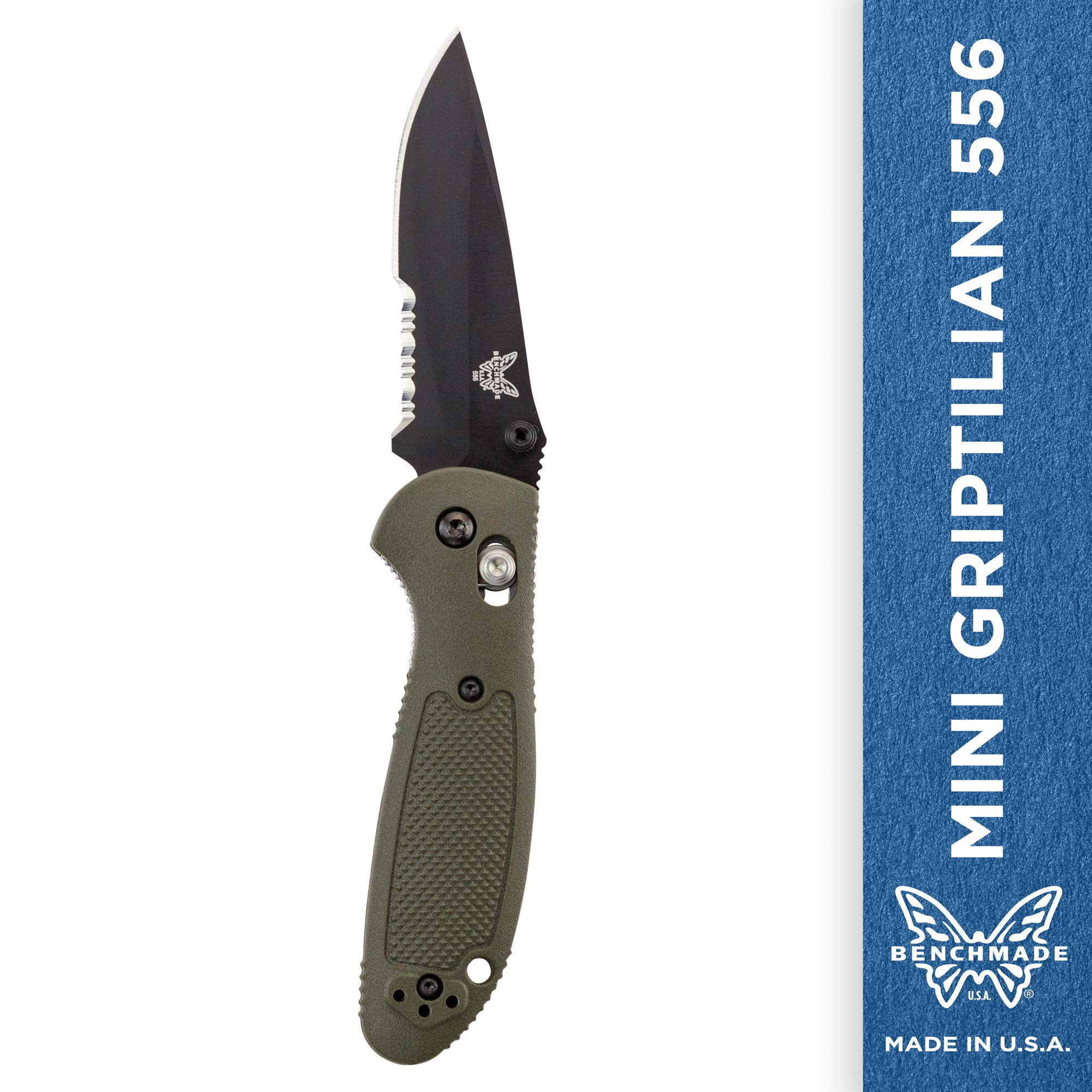 Benchmade - Mini Griptilian 556 EDC Manual Open Folding Knife Made in USA with CPM-S30V Steel, Drop-Point Blade, Serrated Edge, Coated Finish, Olive Handle