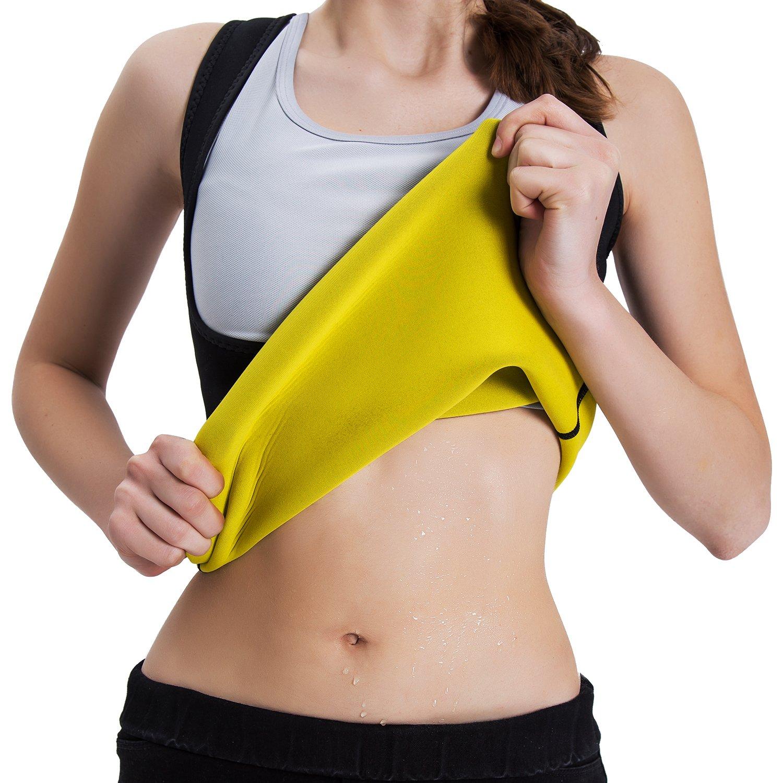 Roseate Women's Body Shaper Hot Sweat Workout Tank Top Slimming Vest Sauna Shirt Neoprene Compression Shapewear, No Zipper, Black/Yellow M