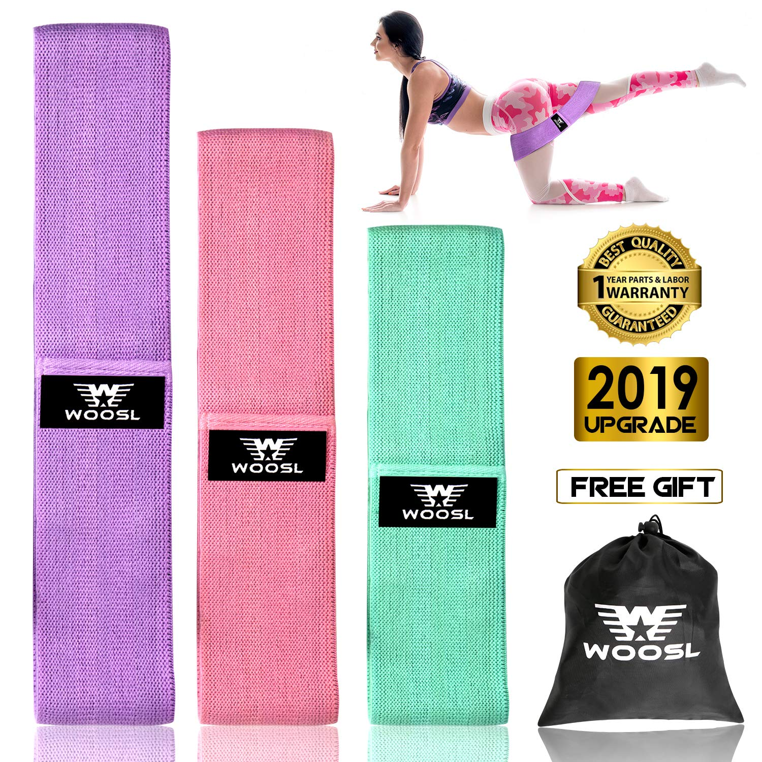 WOOSL Resistance Bands Set,Booty Bands Loop Exercise Bands Anti Slip Elastic Workout Bands Hip Bands Wide Resistance Bands for Legs and Butt Booty Band with Fabric Anti-Slipping Glute
