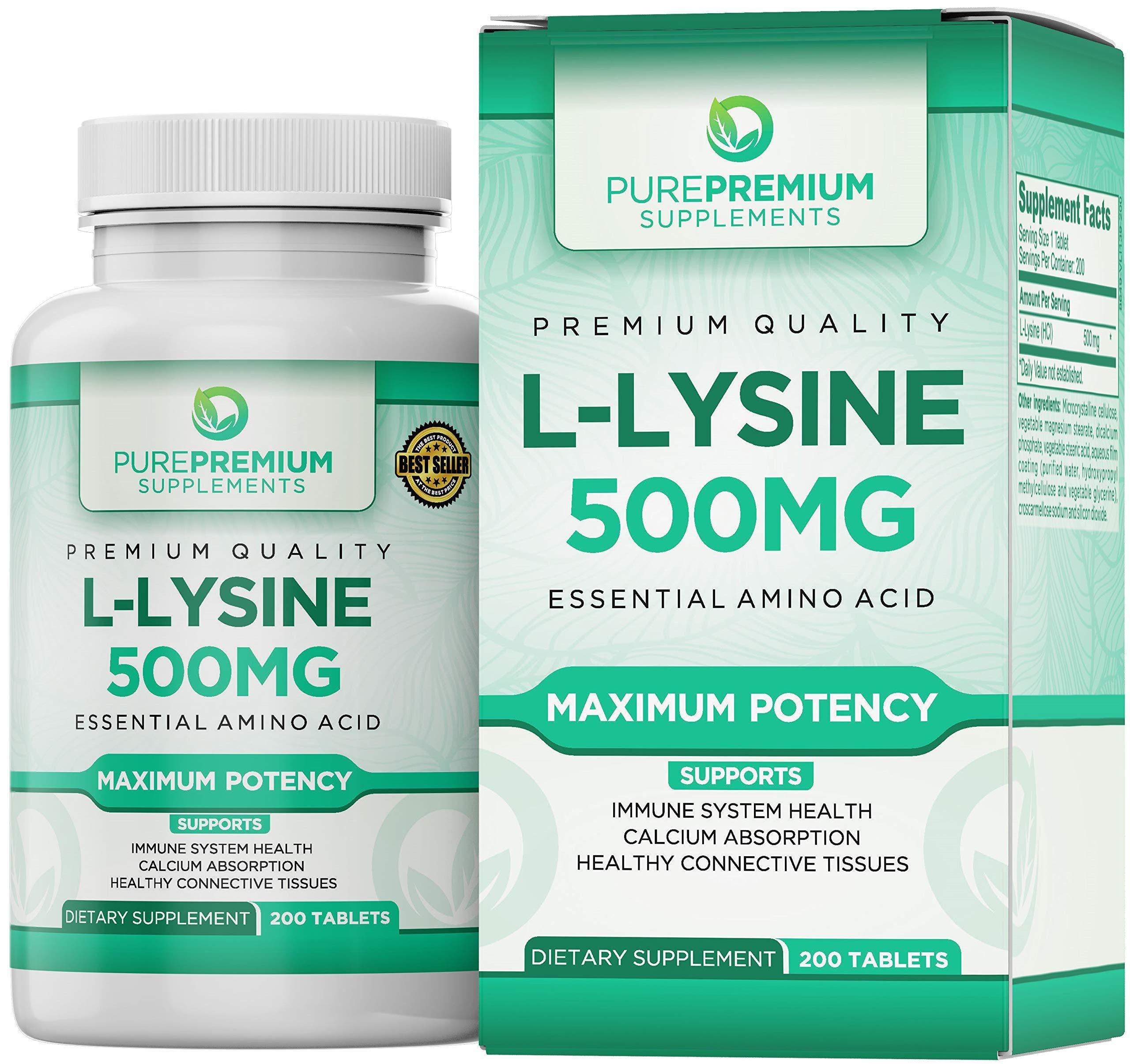 Premium L-Lysine by PurePremium (Maximum Strength) Essential Amino Acid - Support Immune System Health - 200 Tabs by PurePremium Supplements