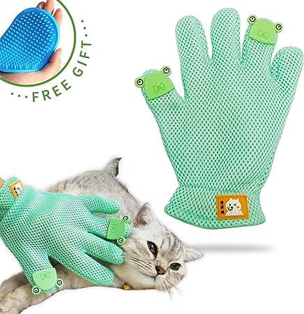Black 1 Pair Perfect Dog Pet Grooming Glove Upgrade Version Gentle Deshedding Brush Glove - 2018 Version Efficient Pet Hair Remover Mitt Massage Tool Enhanced Five Finger Design