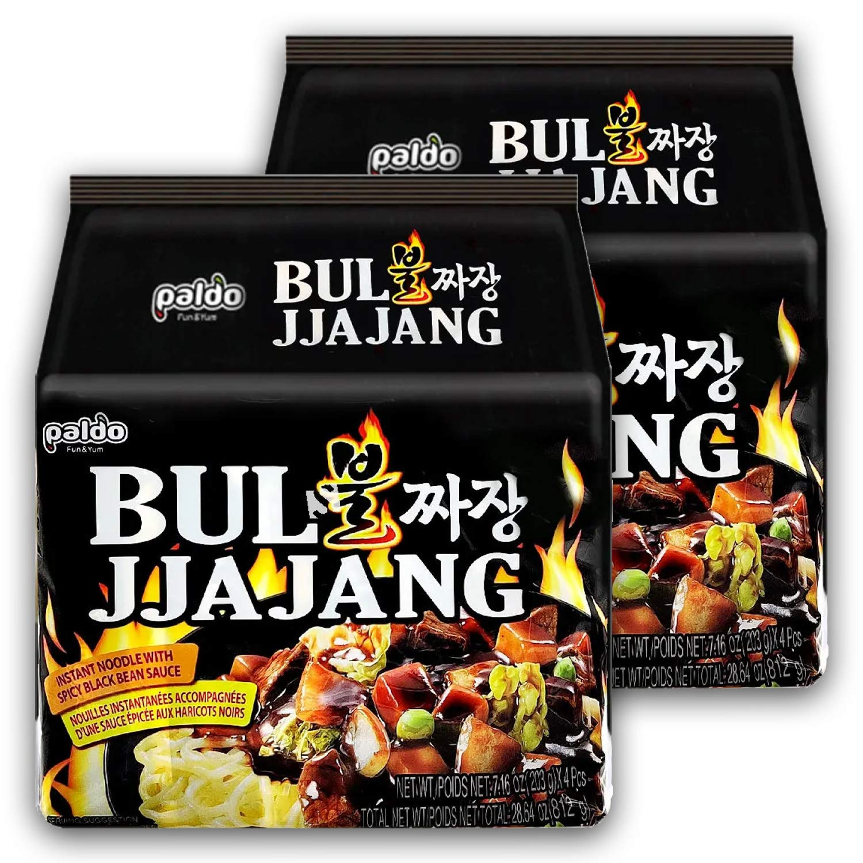 Paldo Fun & Yum Bul Jjajangmen Spicy Instant Noodles, Pack of 8, Brothless Chajang Ramen with Savory & Sweet Black Bean Sauce, Best Oriental Style Korean Ramyun, Soupless K-Food, 팔도 불짜장 203g x 8