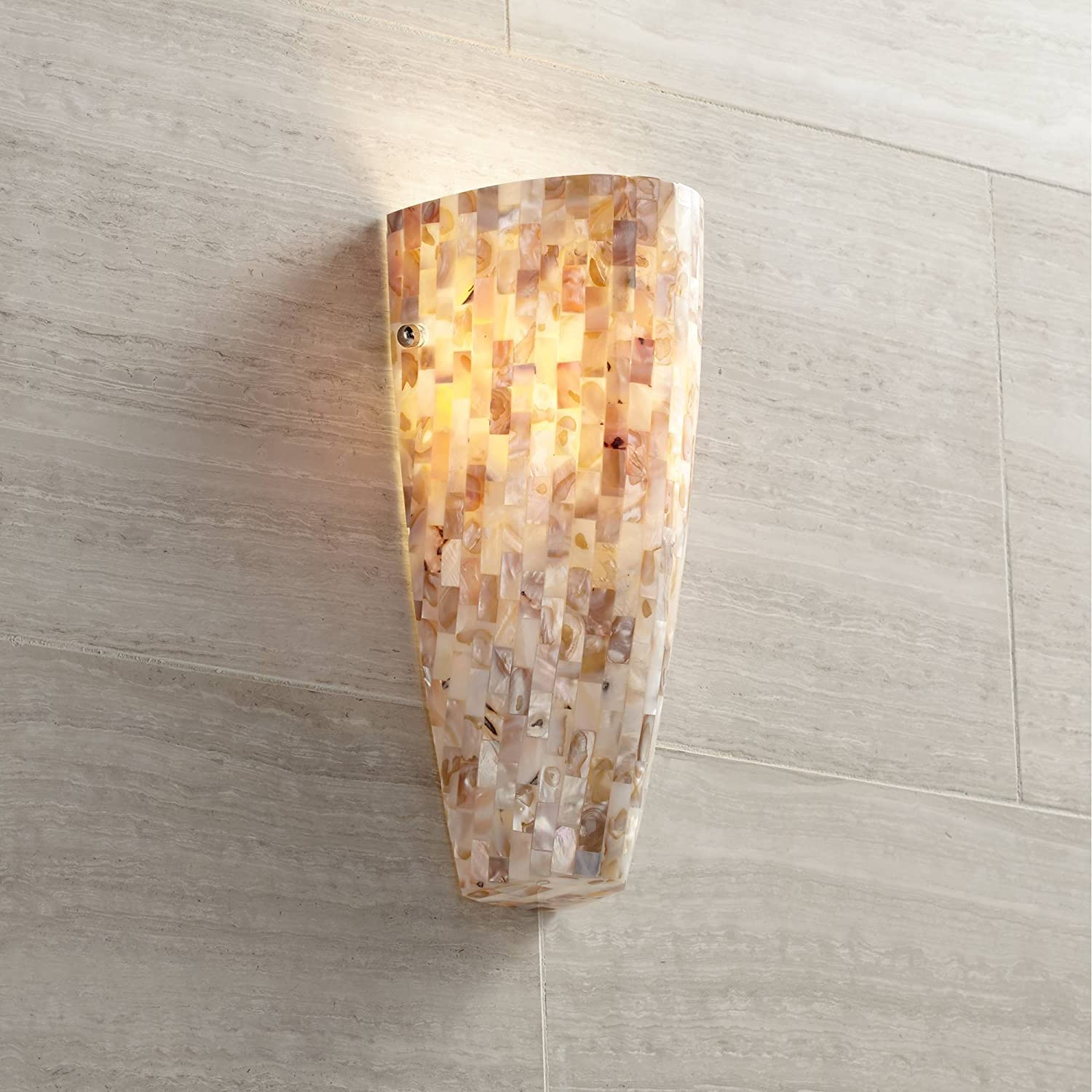"""Mosaic Modern Wall Light Sconce Mosaic Mother of Pearl Glass Hardwired 11 3/4"""" High Fixture for Bedroom Bathroom Hallway - Possini Euro Design"""