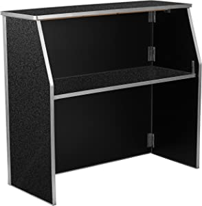 Flash Furniture 4' Black Marble Laminate Foldable Bar
