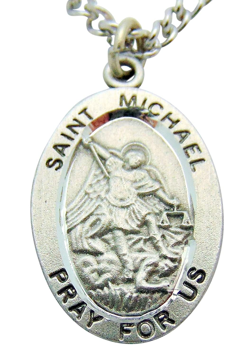 St Michael Solid Pewter One Inch Saint Medal with Stainless Steel Chain & Gift Bag