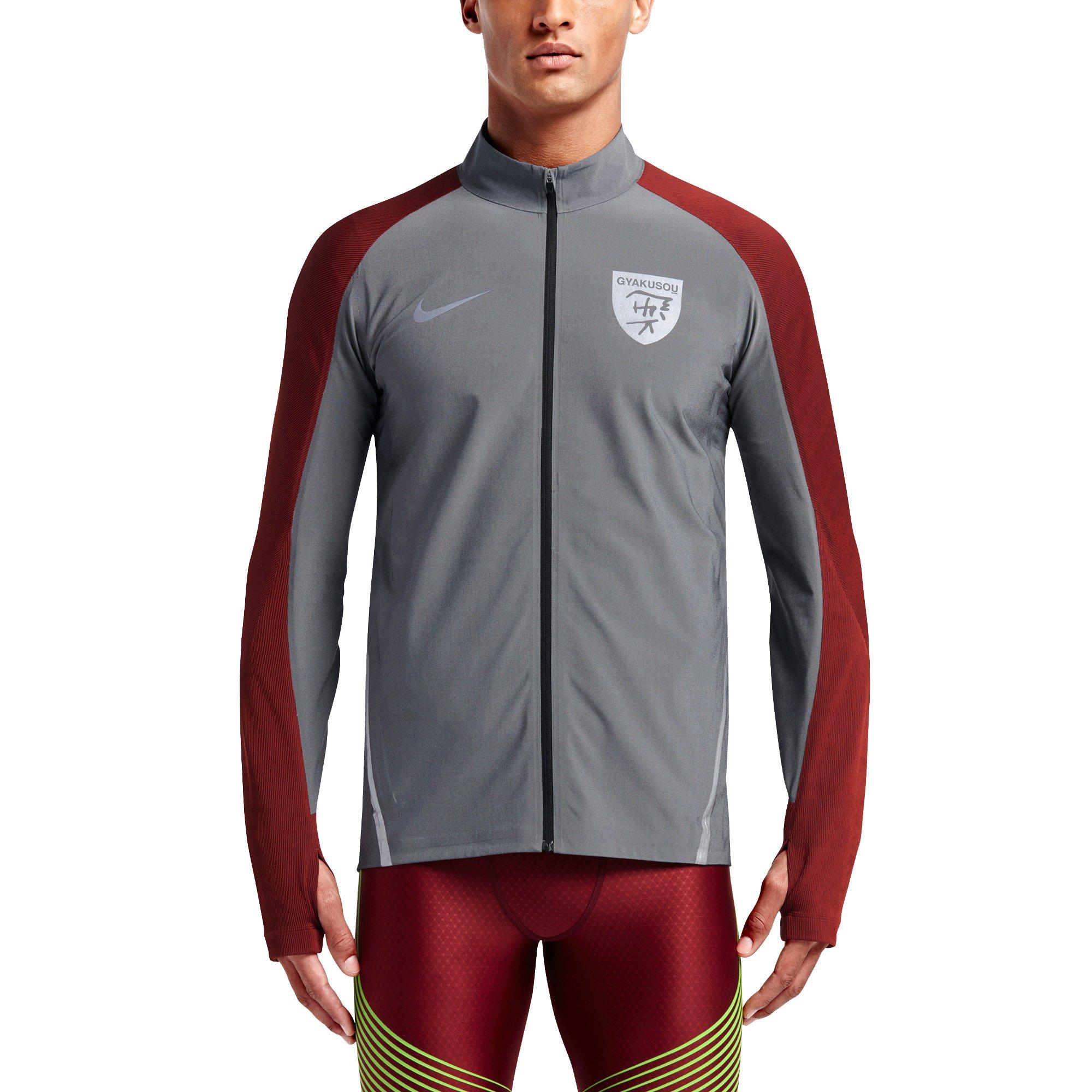 NIKE Lab Gyakusou Dry Stadium Men's Jacket (Large, Black Heather/Silver/Dark Cayenne) by NIKE