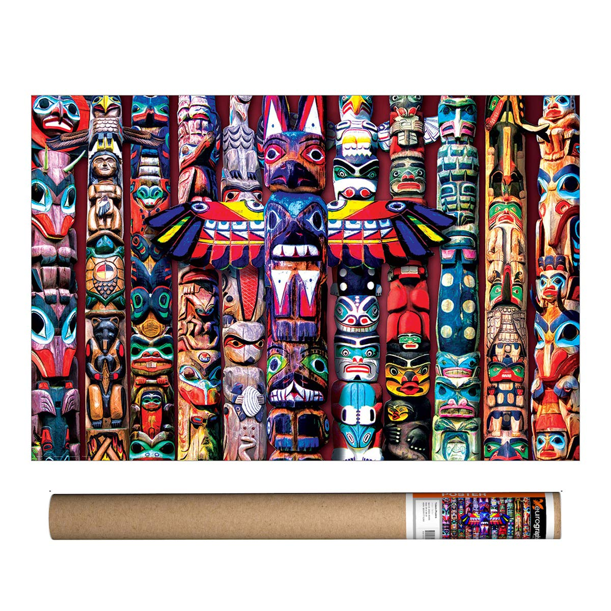 Poster 24 x 36 inch by Eurographics Totem Poles Colors of The World