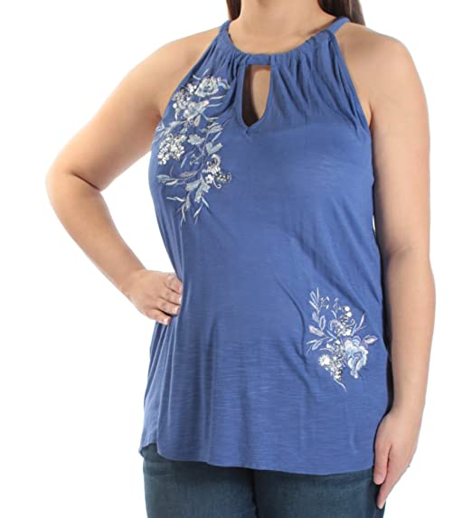 b2475130c1778a INC International Concepts Women s Embroidered Halter Top at Amazon Women s  Clothing store