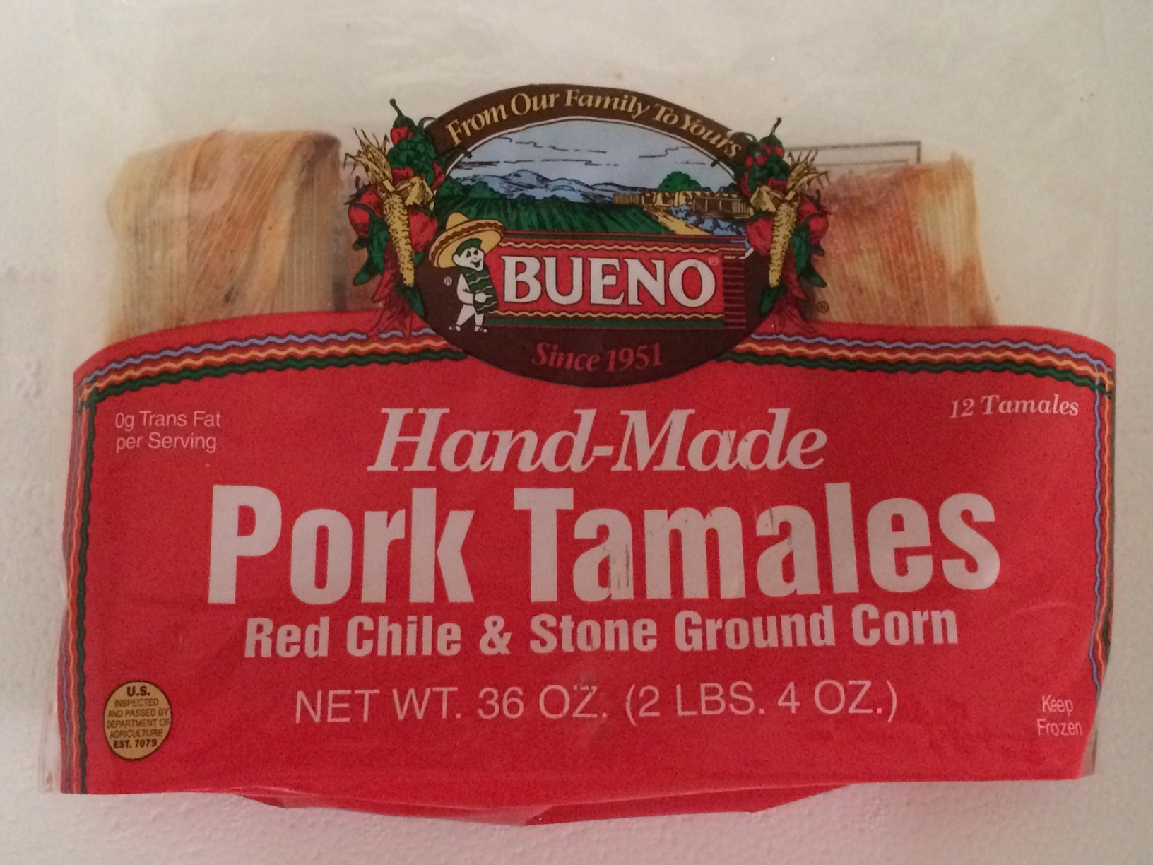Red Chile Pork Tamales (2) 1dz Pkgs by Bueno Foods