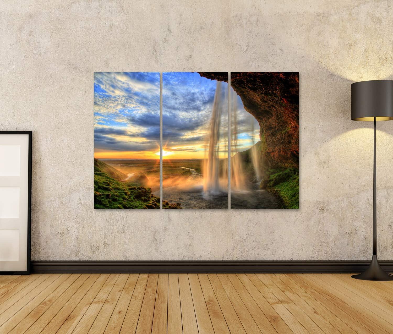Poster Bild Bilder auf Leinwand Seljalandfoss-Wasserfall bei Sonnenuntergang in HDR Island Wandbild Leinwandbild MRQ