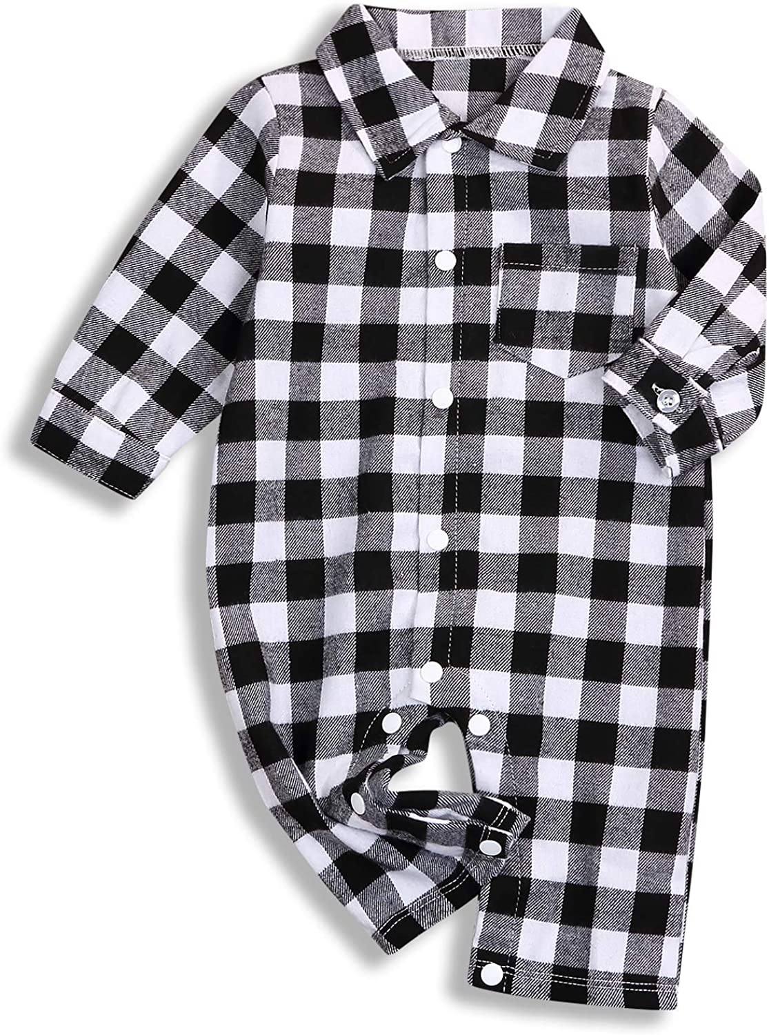 Newborn Baby Romper Infant Boys Girls Red Plaid Long Sleeve Jumpsuit Bodysuit Deer Onesies Winter Fall Clothes