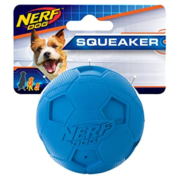 Nerf Dog 2.5in Soccer Squeak Ball - Blue, Dog Toy