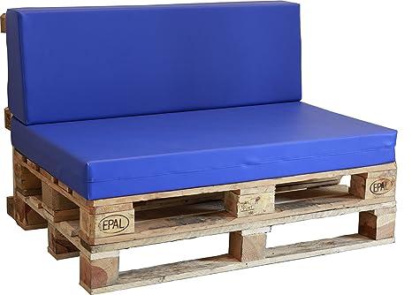 Asiento de espuma enfundado en Polipiel Náutico azul para Sofá Palet