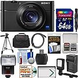 Sony Cyber-Shot DSC-RX100 V 4K Wi-Fi Digital Camera with 64GB Card + Case + Flash + Video Light + Battery & Charger + Tripod + Kit
