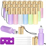 Essential Oil Roller Bottles - 24 Pack 5ml Pearl Colored Glass Roller Bottles with Stainless Steel Roller Balls by…