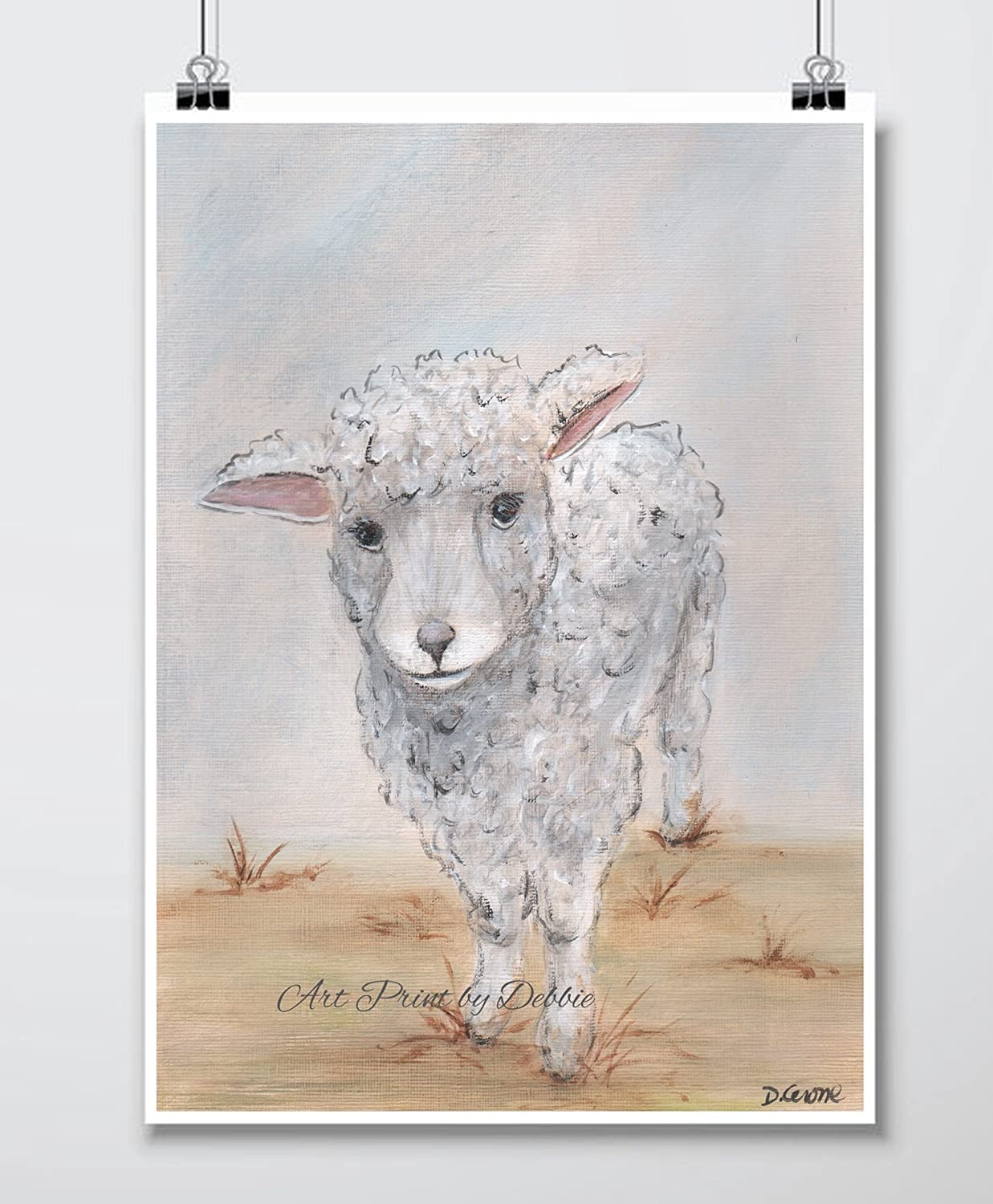 Amazoncom Lamb Art Lamb Watercolor Painting Baby Sheep Farm Animal