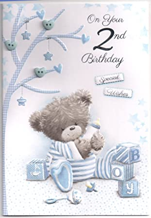 Embellished Birthday Card For Two 2 Year Old Boy