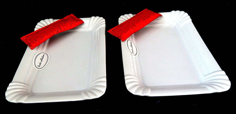 origineller Wurstteller im Pappdesign aus Porzellan 2 rechteckige Teller MT Porzellanteller Imbiss im 2er Set