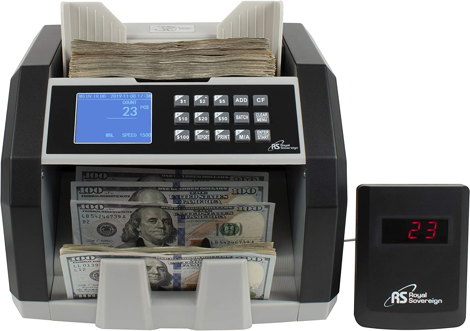 Royal Sovereign High Speed Money Counting Machine, with UV, MG, IR Counterfeit Bill Detector & Value Counting (RBC-ED250)