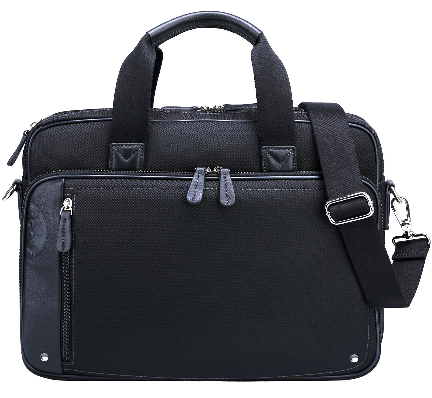 Ronts Mens Business Briefcase Nylon with Genuine Leather Messenger Bag Waterproof Shoulder Bag for 14'' Laptop 15 inch Macbook
