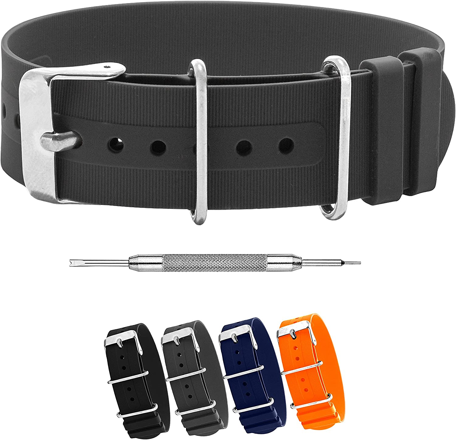 Benchmark Basics Silicone Watch Band - Single Pass Rubber Strap - 18mm, 20mm & 22mm - 4 Colors
