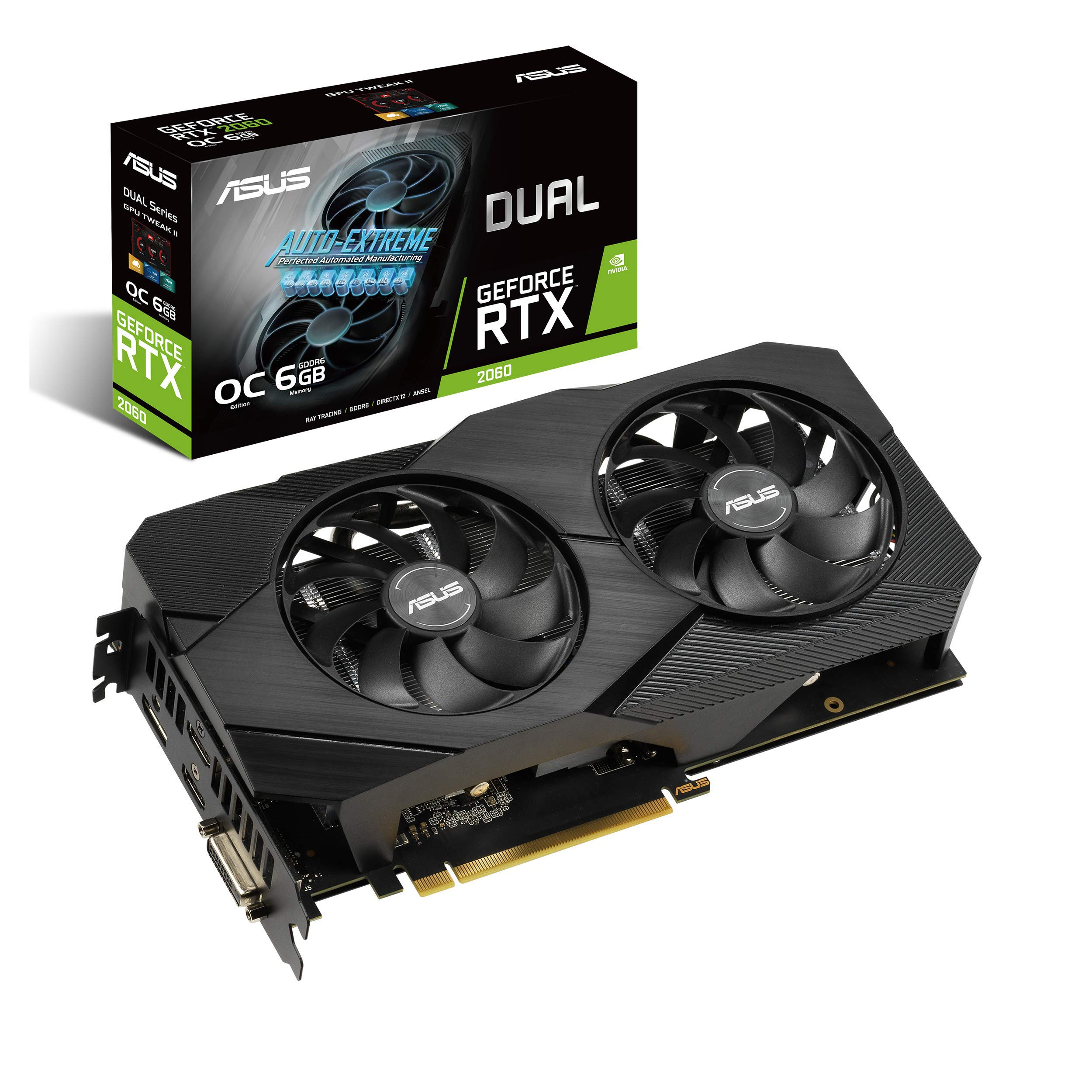 ASUS GeForce RTX 2060 Overclocked 6G GDDR6 Dual-Fan EVO Edition VR Ready HDMI DisplayPort DVI Graphics Card (DUAL-RTX2060-O6G-EVO)