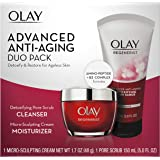 Olay Regenerist Advanced Anti-Aging Pore Scrub Cleanser (5.0 Oz) and Micro-Sculpting Face Moisturizer Cream (1.7 Oz…