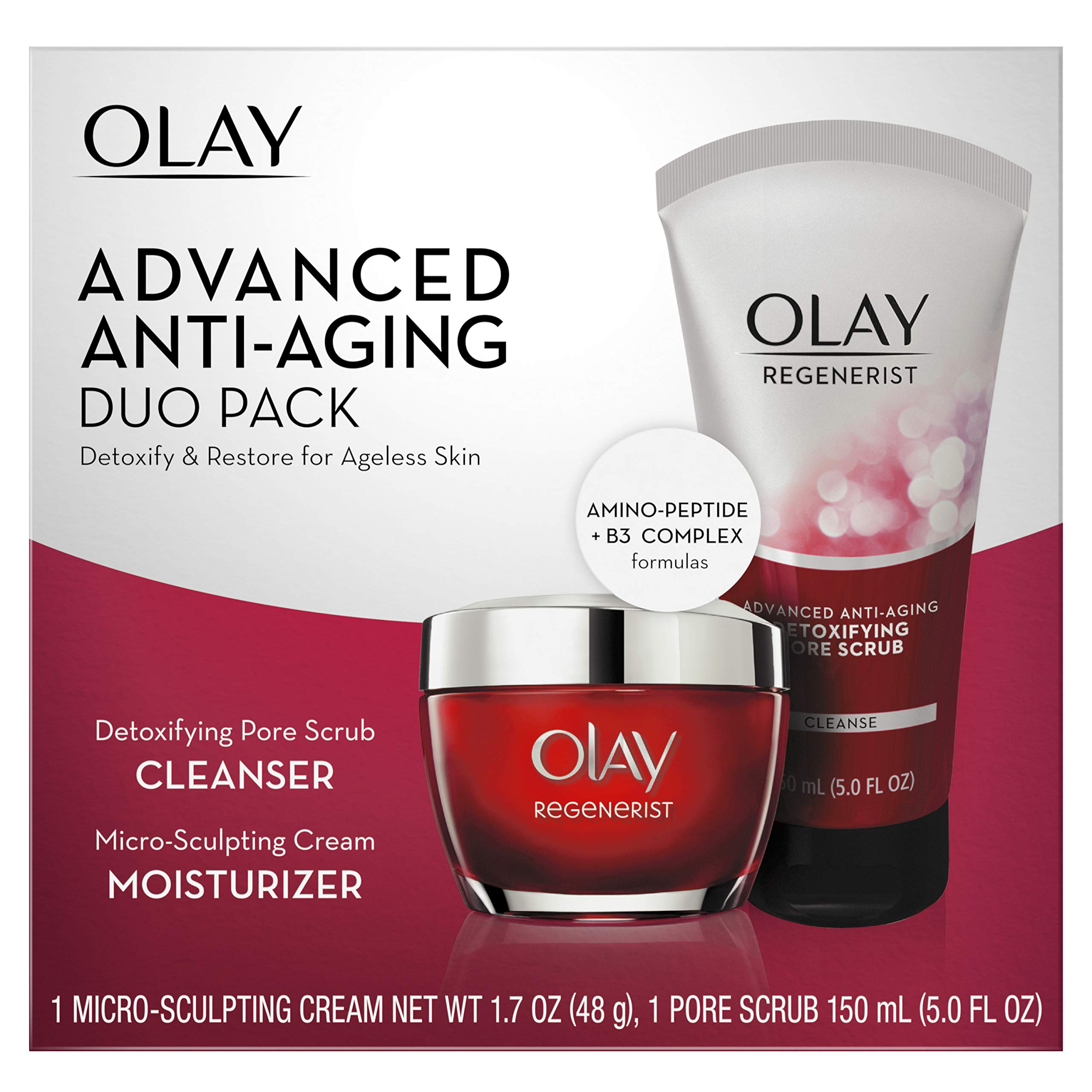 Face Wash by Olay Regenerist Advanced Anti-Aging Pore Scrub Cleanser (5.0 Oz) and Micro-Sculpting Face Moisturizer Cream (1.7 Oz) Skin Care Duo Pack, Total 6.7 Ounces Packaging may Vary by Olay