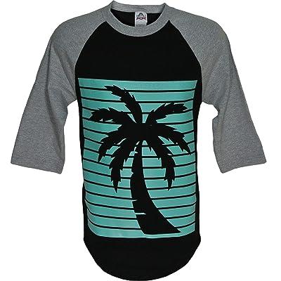 ShirtBANC Aqua Palm Tree Outline Raglan | .com