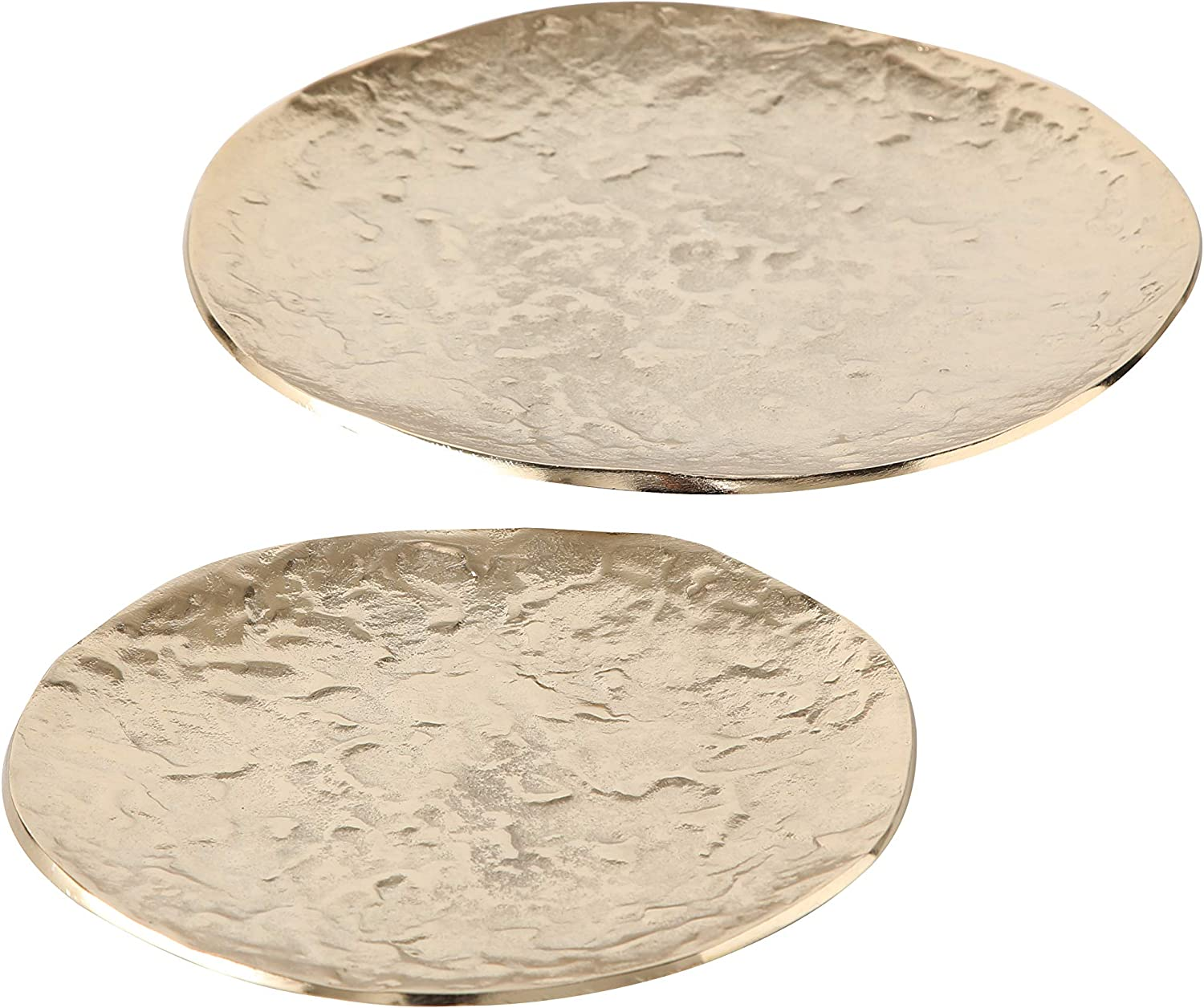 WHW Whole House Worlds Metallic Luna Moon Decorative Candle Tray Plates, Set of 2, Champagne Finish, Round, Hand Cast Aluminum, 10.75 and 8.25 Inches Home Decor