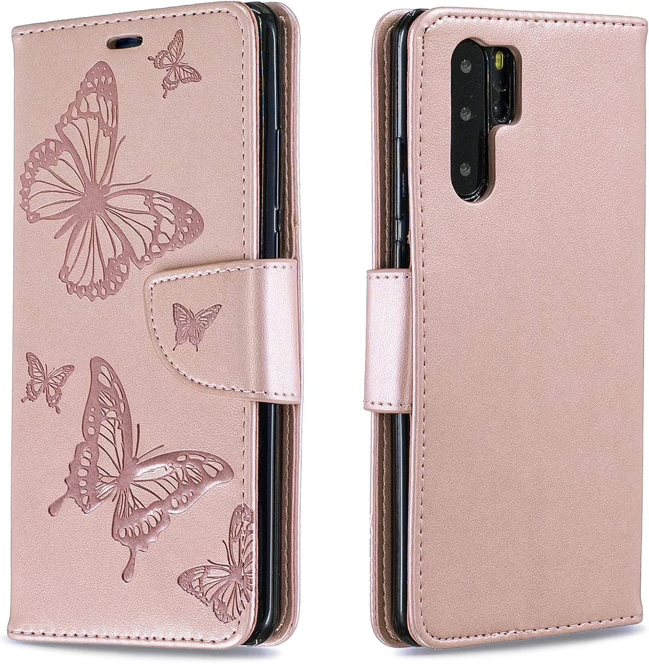 LOBFE140223 Gold Lomogo Leather Wallet Case with Kickstand Card Holder Shockproof Flip Case Cover for Huawei P30Pro Huawei P30 Pro Case