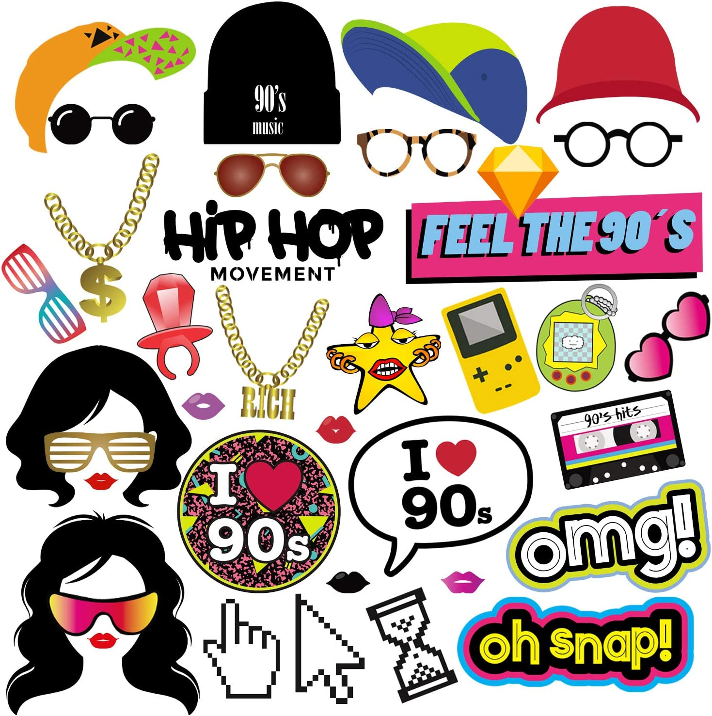 90s Throwback Party Favors Decorations Supplies for Adults and Kids 37pcs 1990s Theme Party Props for Hip Hop Party BizoeRade 90s Party Photo Booth Props