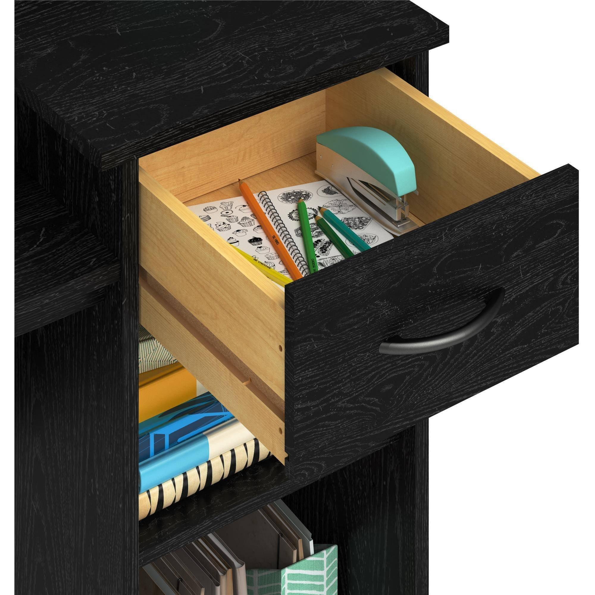 Adjustable Shelf and Easy-Glide Accessories Drawer Student Desk in Black Ash