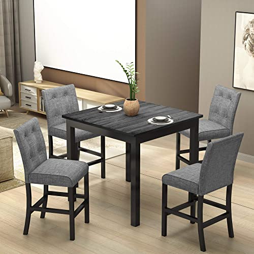 Merax 5 Piece Dining Table Set Counter Height Kitchen Table Set Wooden Square Table and 4 Upholstered High-Back Chairs,Kitchen Dining Room Furniture