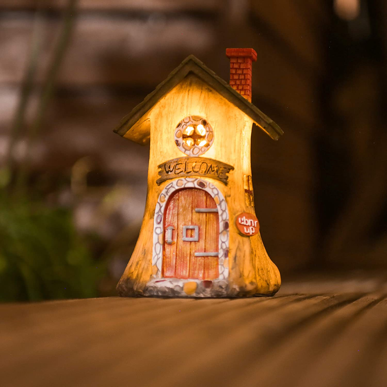 Solar Power Log Garden Fairy House soft White LED Mystical Fairy Garden Ornament
