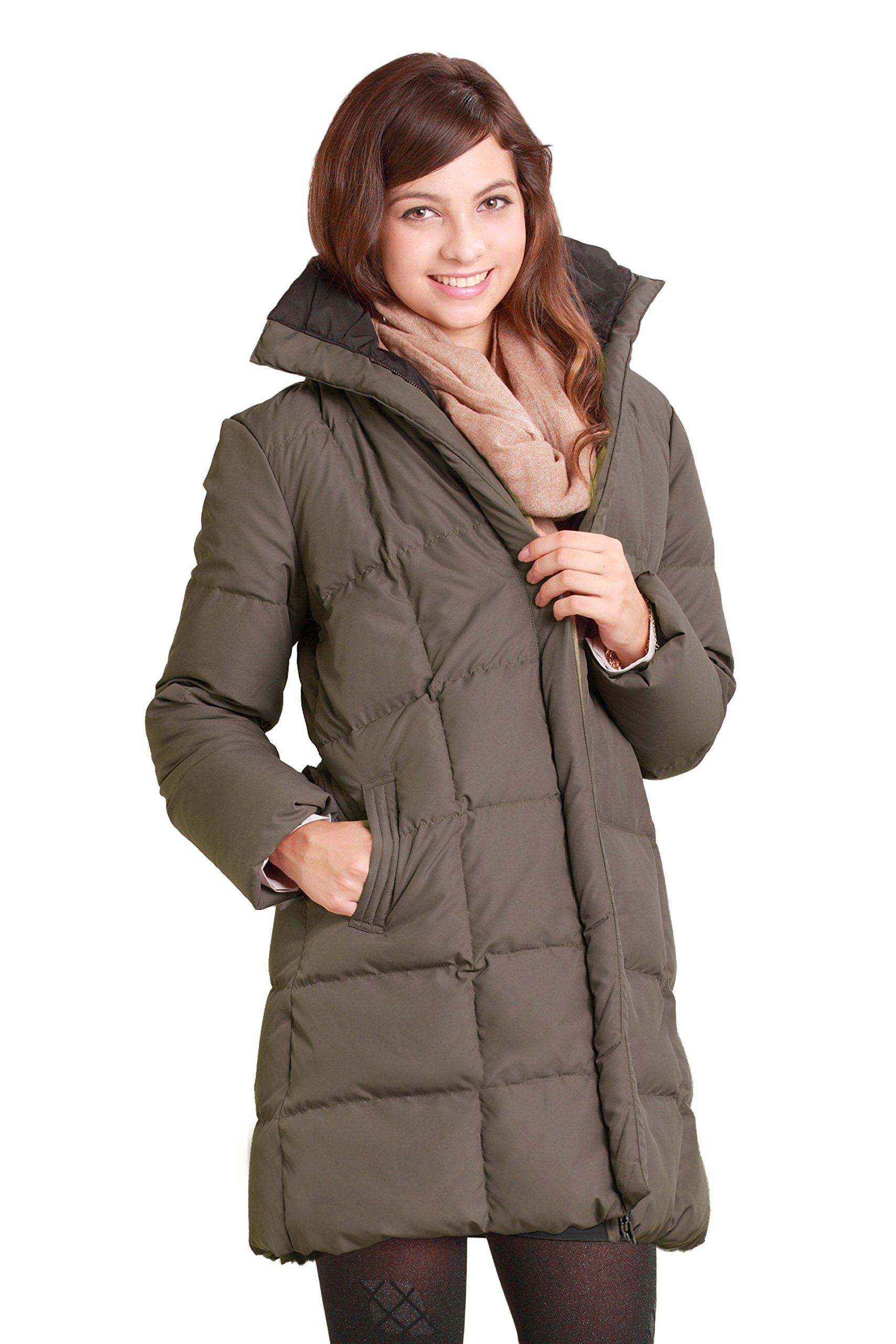 Sweet Mommy Reversible Down Maternity and Mama Coat with baby cover KhakiBlack, LL