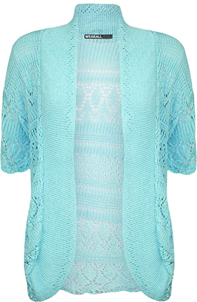 ce2c1f7ffe WearAll Plus Size Womens Crochet Knitted Short Sleeve Ladies Shrug Cardigan  Top - 20-26  Amazon.co.uk  Clothing