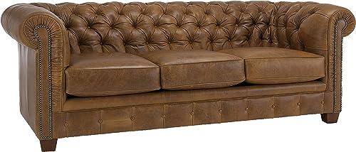 SOFAWEB.COM Hancock Tufted Top Grain Italian Leather Chesterfield Sofa Distressed Saddle Brown