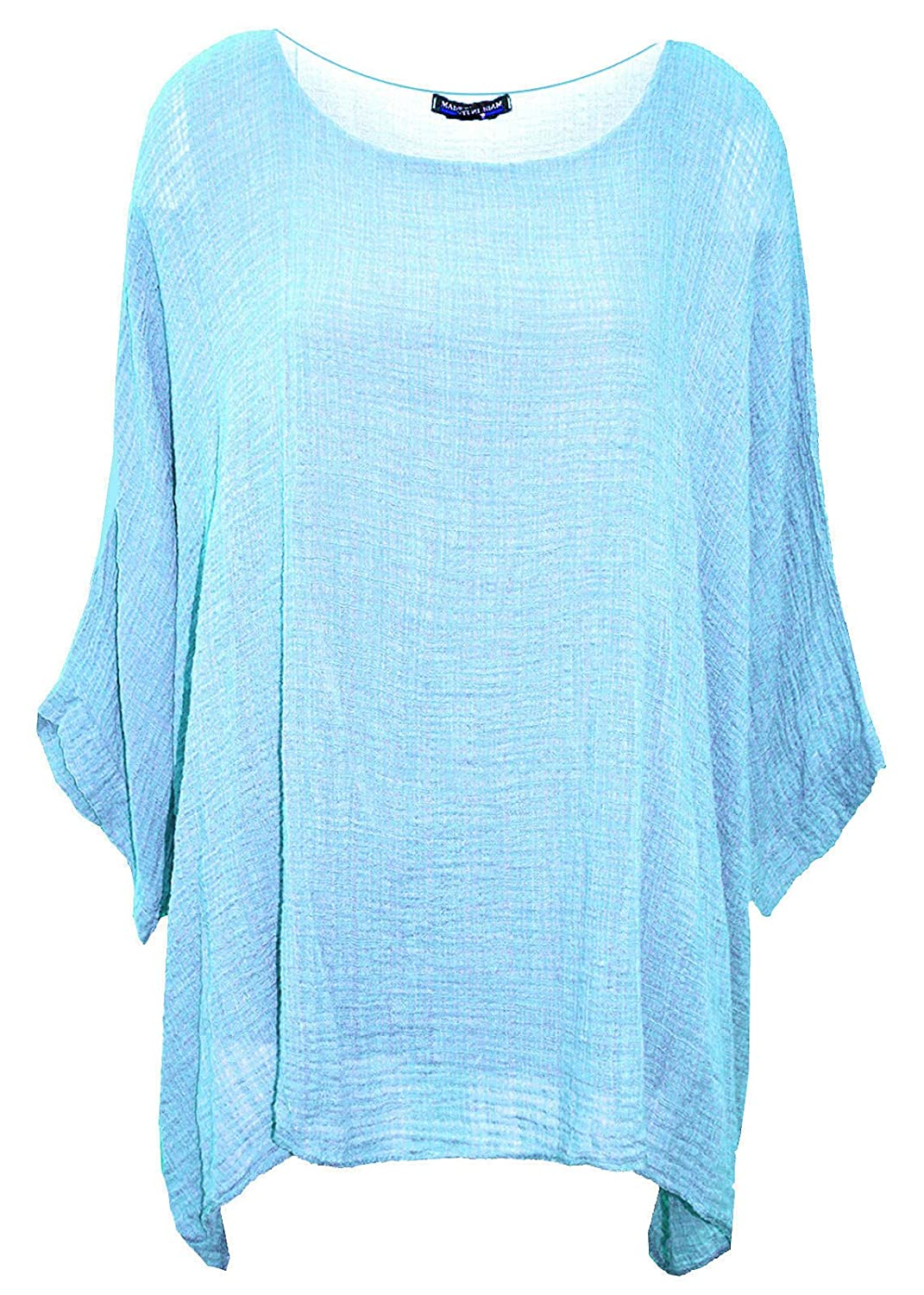 Crazy Girls Womens Ladies Plain Italian Cotton Loose Fit Batwing Lagenlook Kimono Top Plus Sizes UK 12-22