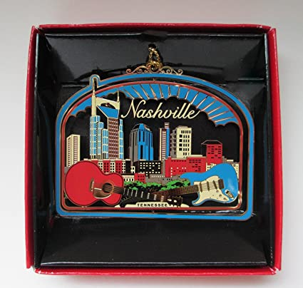 nashville tennessee christmas ornament souvenir gift city skyline guitars
